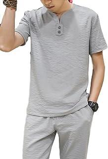 メンズ セットスーツ ルームウェア 上下セット コットン リネン Tシャツ カジュアル カレッジ 体型カバー サイズ豊富 部屋着