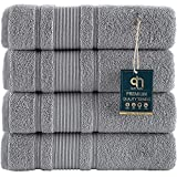 Qute Home 4-Piece Bath Towels Set, 100% Turkish Cotton Premium Quality Towels for Bathroom, Quick Dry Soft and Absorbent Turkish Towel Perfect for Daily Use, Set Includes 4 Bath Towels (Grey)