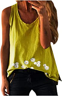 Women Summer Sleeveless Tank Tops, Ladies O-Neck Floral Printed Vest T-Shirt Blouses Tops
