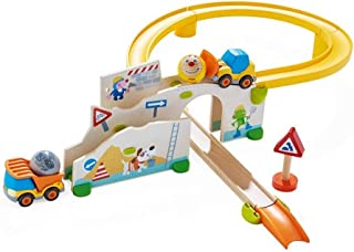 HABA Kullerbu at The Construction Site Play Track - 13 Piece Starter Set with 2 Vehicles and Fascinating Ball Drop - Ages ...