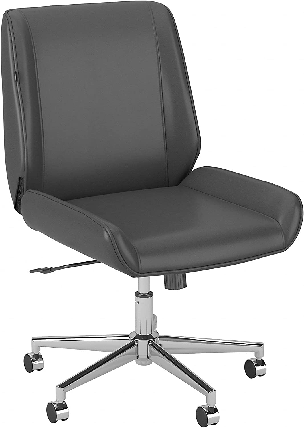 Bush Business Furniture Bay Street Wingback Leather Office Chair, Dark Gray