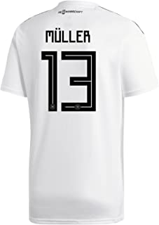 adidas Muller #13 Germany Home Soccer Stadium Men's S/S Jersey World Cup Russia 2018