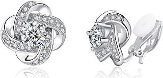 YOQUCOL Cubic Zirconia Crystal Geometry Cross Clip On Earrings Non Pierced Jewellery Elegant Stud For Women Girls
