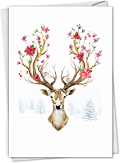 The Best Card Company Blooming Reindeer - 12 Boxed Merry Christmas Greeting Cards with Envelopes (4.63 x 6.75 Inch) - With Winter Seasonal Flower Antlers C7378FXSG-B12x1