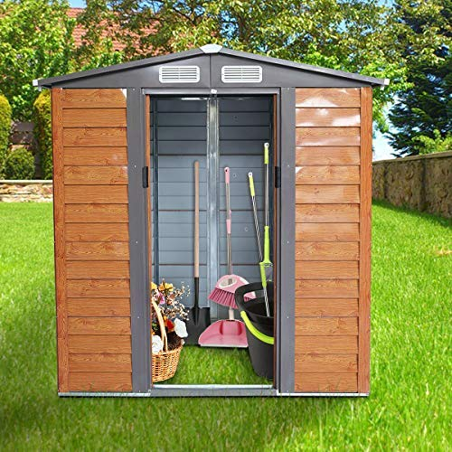 JAXSUNNY 5'x6' Outdoor Steel Garden Storage Utility Tool Shed Backyard Lawn Building Garage w/Sliding Door