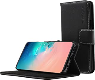 Snugg Samsung S10 Plus Wallet Case – + Leather Card Case Wallet with Handy Stand Feature – Legacy Series Flip Phone Case Cover in Blackest Black