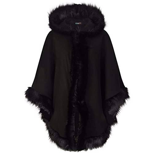 b85c0805a29 ZET New Ladies Womens Italian Lagenlook Quirky Layering Hooded Faux Fur Trim  Wool Cape Poncho Coat