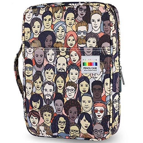 YOUSHARES Estuche de Lápices de Colores con 166 Ranuras - Plumier con Tres Capas Estuche para Lápices de Dibujo & Bolígrafos de Gel para Estudiante & Adulto & Artista (Imágenes de Personajes)