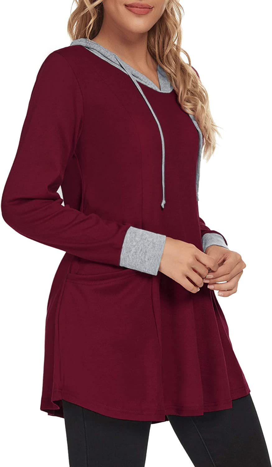 VALOLIA Women's Color Block Lightweight Spring Pullover Plaid Splicing Sweatshirt with Pockets