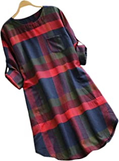 Women's Side Pockets Plaid Round Neck Roll Long Sleeve Casual Dress