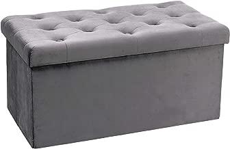 B FSOBEIIALAO Folding Storage Ottoman, Long Shoes Bench, Flannelette Footrest Stool Seat 31.5