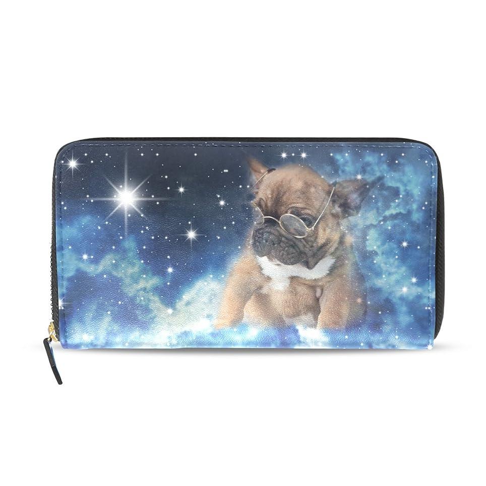 慣習指プロペラGORIRA(ゴリラ) 星空 眼鏡パグ かわいい犬 長財布 レディース ダブルサイド印刷 ファスナー開閉式 ウォレット