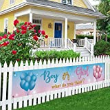 Boy or Girl Large Banner, Baby Shower Lawn Sign, Gender Reveal Party Porch Sign Decoration, Indoor Outdoor Backdrop 8.9 x 1.6 Feet