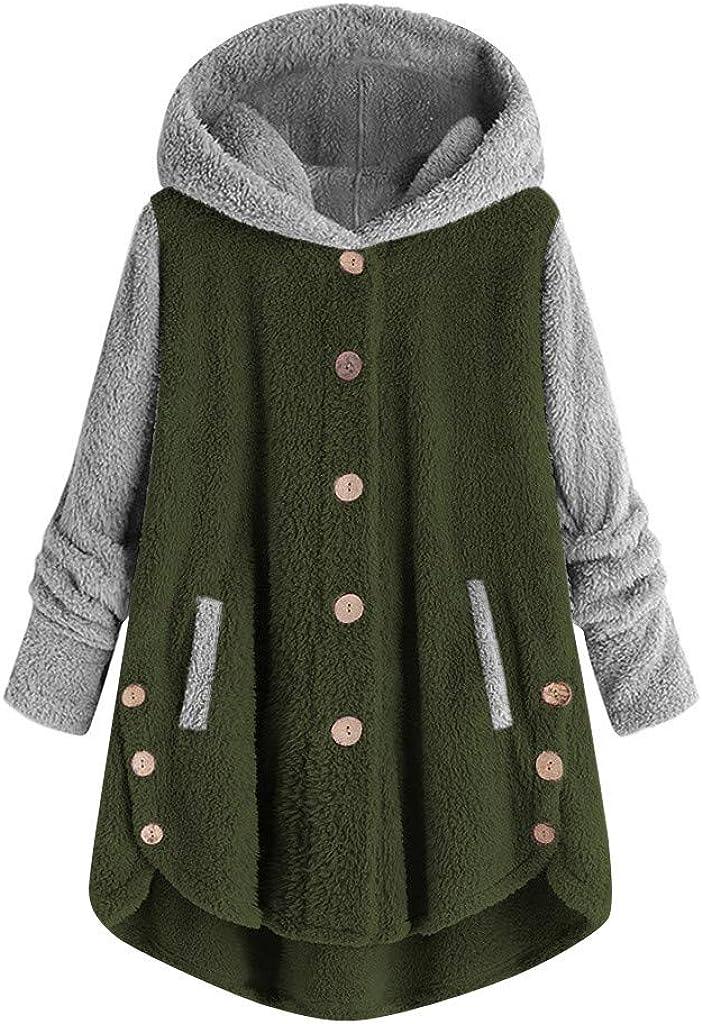 iQKA Women's Plus Size Patchwork Button Coat Faux Fur Cozy Jacket Tops Hooded Pullover Loose Sweatshirt Blouse