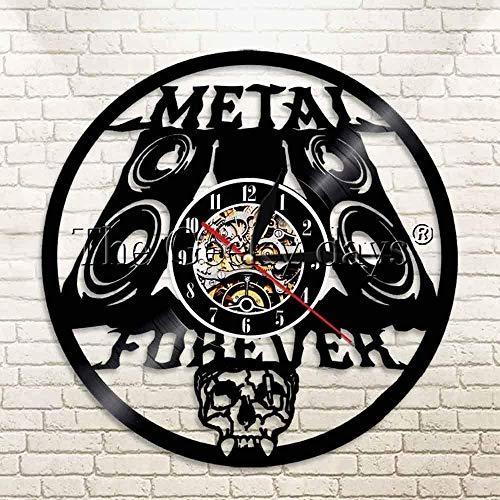 zgfeng Disco de Vinilo Reloj de Pared Metal Forever Rock Band Leyenda de la música Heavy Metal Rock cráneo Reloj Vinilo LP Retro