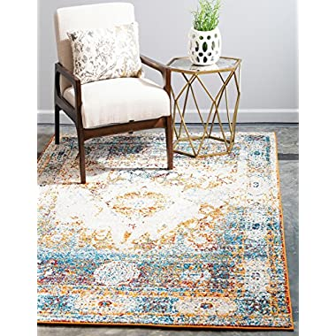 Unique Loom Rosso Collection Vintage Traditional Distressed Beige Area Rug (5' x 8')