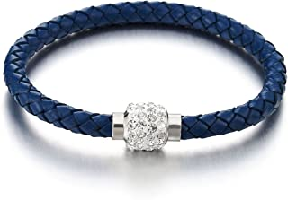 Blue Leather Bangle Bracelet with Cubic Zirconia and Steel Magnetic Clasp