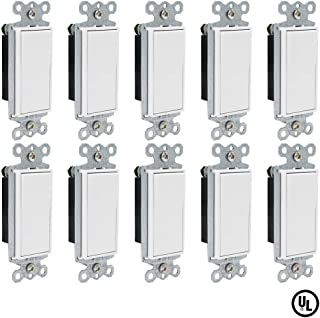 ESD Tech 15 Amp Rocker Paddle Light Switches, 10 Pack, 120V Single-Pole