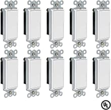 ESD Tech 15 Amp Rocker Switches, 10 PK, 120V Single-Pole AC Quiet Wall Switch, UL Listed