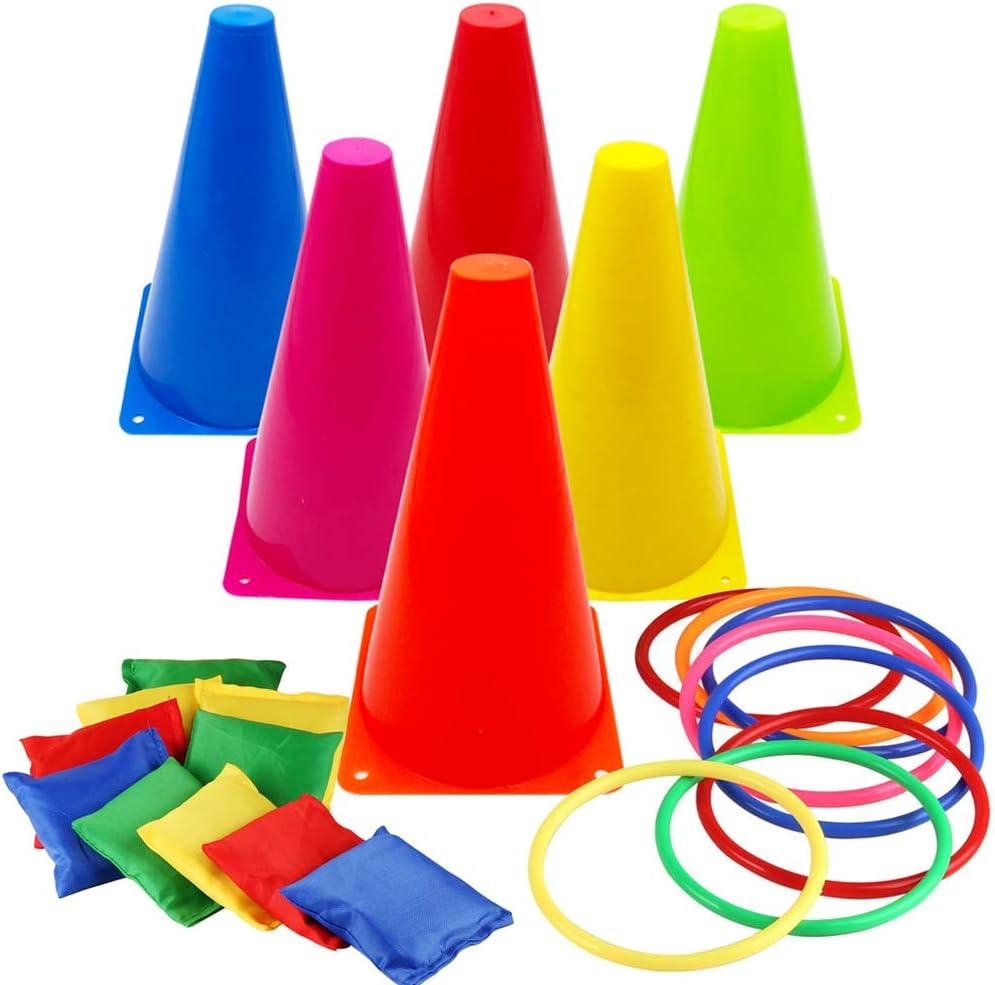 Hxezoc 3 in 1 Carnival Games Cones Plastic San Francisco Limited time trial price Mall Set Soft Cornhole Be