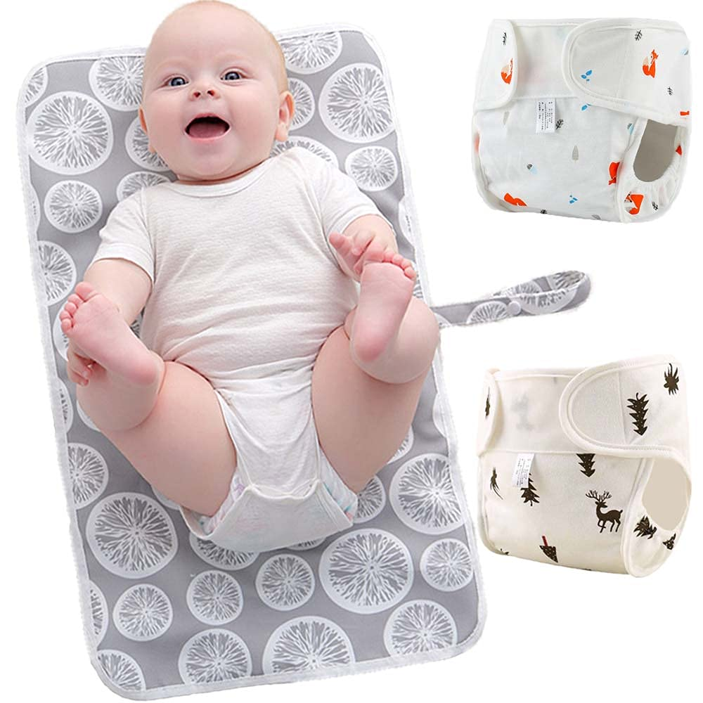 Portable Diaper Changing Pad & 2 Pack Hook and Loop Diaper Covers | JOYATHENA Multifunction Travel Nappy Baby Changing Mat | Reusable, Waterproof & Durable (Grey Lemon(Deer+Fox))