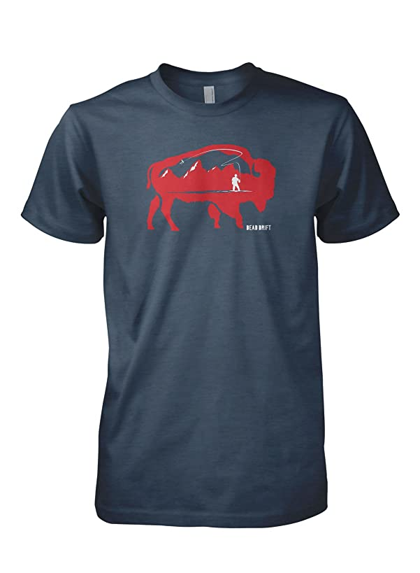 Dead Drift Fly Grand Buffalo Fly Fishing T-Shirt (X-Large, Midnight Navy)
