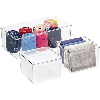 Fant/ástica caja para ropa o cosm/éticos mDesign Juego de 2 cajas organizadoras transparente Pr/áctico organizador de pl/ástico sin BPA para armarios del dormitorio o ba/ño