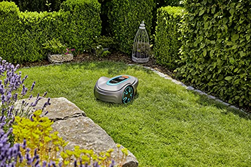 GARDENA SILENO Minimo - Fully Automatic Robotic Lawnmower with Bluetooth App, quietest in The Market, Boundary Wire Included, for lawns up to 2700 sq. ft.