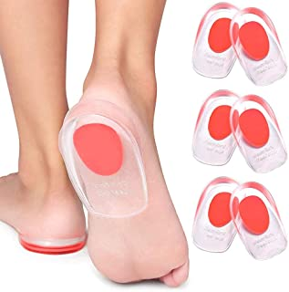 インソール 3ペアジェルヒールカップ足底筋膜炎インサート - かかとの痛み、骨拍車&アキレス痛み、ジェルヒールのクッションとカップ、パッド&衝撃吸収サポートのためのシリコンジェルヒールパッド