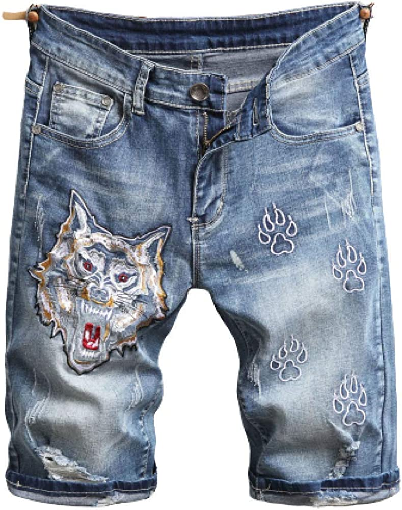 Men's Jeans Summer Ripped Shorts Slim Fit Stretch Embroidery Straight Leg 29