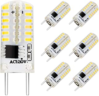 EKSAVE G8 LED Bulbs, Dimmable 110V 2.5W White 6000K, 48 X 3014 SMD Energy Saving Light Bulbs,20W Halogen G8 Light Bulb Equivalent for Light Fitting