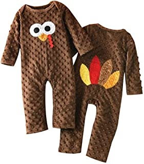 Fiomva Newborn Infant Baby Boy Girl Thanksgiving Romper Turkey Bodysuit Jumpsuit One-Piece Clothes Outfits