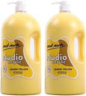 Mont Marte Discovery School Acrylic, 2 Pack, Lemon Yellow, 1/2 Gallon (2 Liter). Ideal for Students and Artists. Excellent Coverage and Fast Drying. Pump Lid Included.