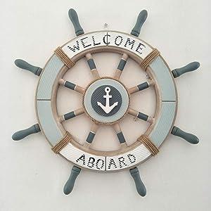 QXTT Steuerrad Mit Anker Schiffssteuerrad Holz Wanddeko Maritime Deko Vintage Steuerrads Statues