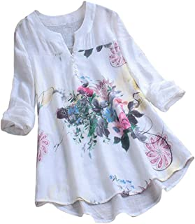a9ac7cbc Pervobs Womens Long Sleeve V-Neck Pleated Floral Button-Down Shirts Tops  Blouses