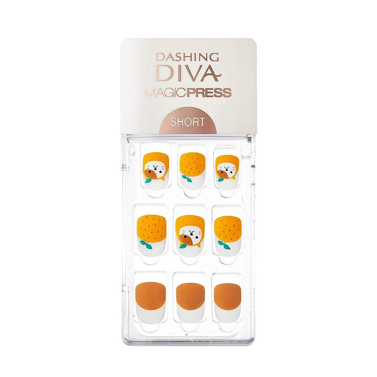 兵士実質的にインシデントダッシングディバ マジックプレス DASHING DIVA MagicPress MDR225SS-DURY+ オリジナルジェル ネイルチップ Orange Meow