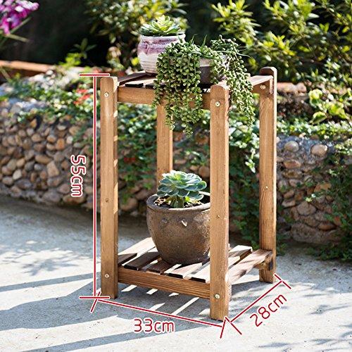 Porte-fleurs multifonctions Combinaison en bois massif étagère à fleurs Plancher en bois à plusieurs étages pots Balcon salon intérieur fleur rack (Taille en option) Applicable aux supports de fleur