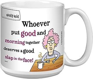 Tree-Free Greetings Aunty Acid Artful Jumbo Mug, 20-Ounce, Good Morning Slap (XM27755)