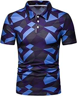 9938d0eed148e Sunmoot Geometric Stripe Polo Shirt for Mens Short Sleeve T Shirts Casual  Slim Fit Lapel Cotton