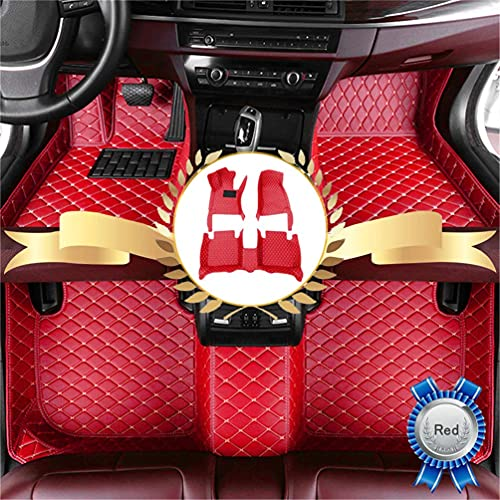 Luxury Leather Car Floor Mats for Chrysler 300 2012-2016 Floor Liners Auto Carpets All Weather Protection Waterproof Full Coverage Full Set (Red)