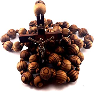 Giant Big Beads Rosario Natural Wood Chain Jesus Cross XL Large 40