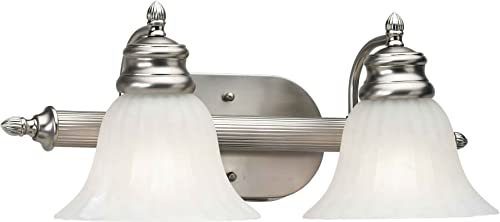 lowest Forte Lighting 5038-02-55 2-Light Traditional Vanity discount Fixture, Brushed Nickel high quality Finish with Fluted Satin Etched Glass outlet sale