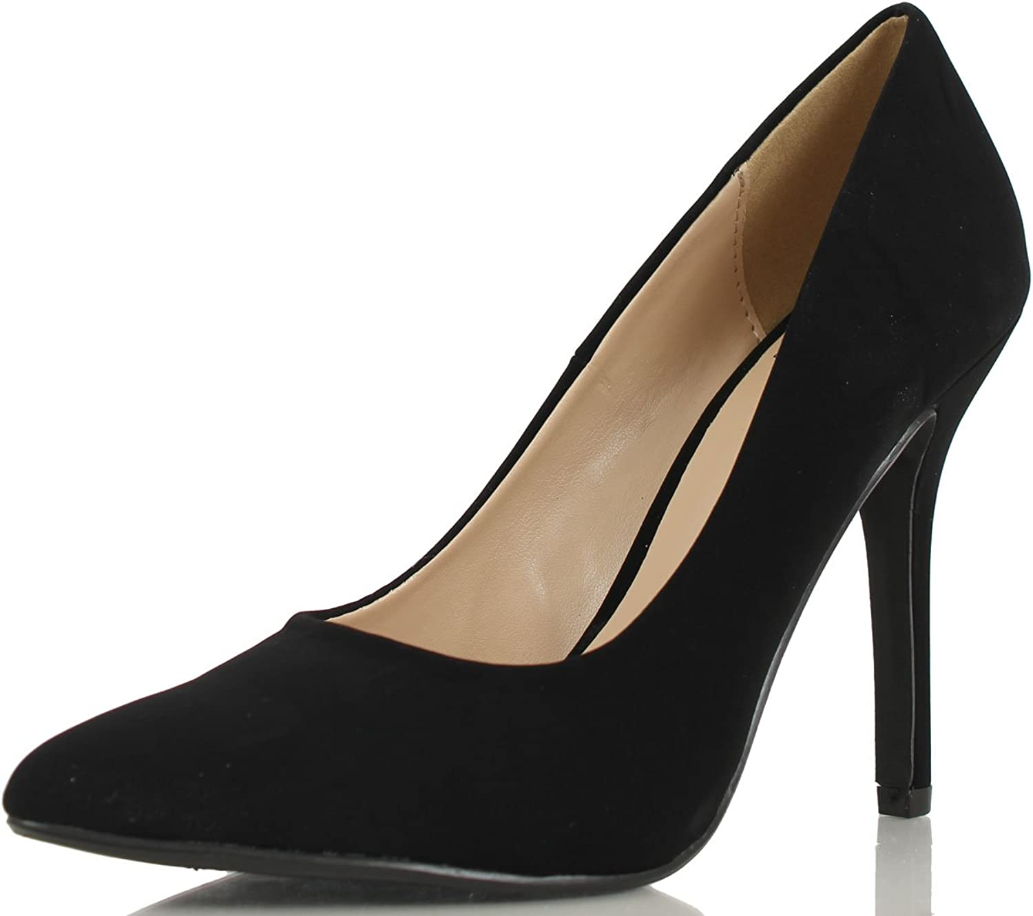 Delicious Women's Cindy Pointy Toe Velvet Single Sole Classic Pump,5.5 B(M) US,Black Nubuck