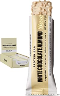 Barebells White Chocolate Almond High Protein and Low Carb Bar, 12 x 55g (1,94 oz) Low Sugar Snack Protein Bar with 20g pr...
