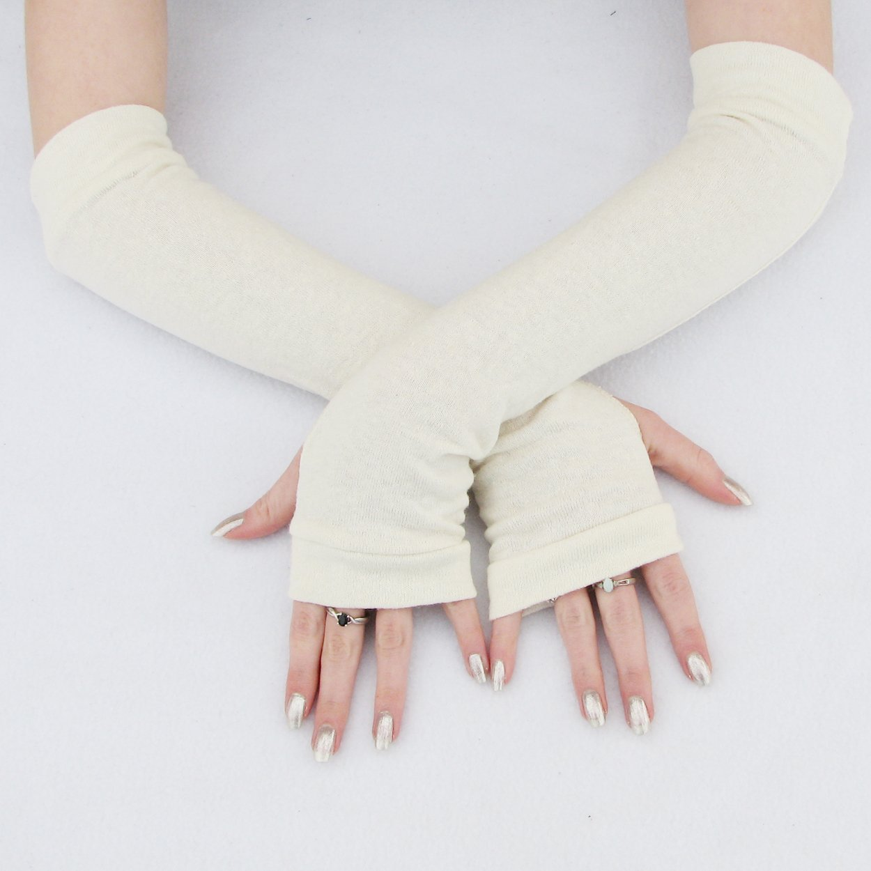 Fresno Mall Basic Ivory White Arm Quantity limited Eco-Friendly Bamboo Gloves Warmers