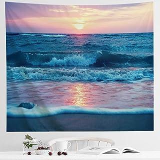 IcosaMro Ocean Tapestry Wall Hanging, Sea Beach Wave Sun Cloud Landscape Scenery Nature..