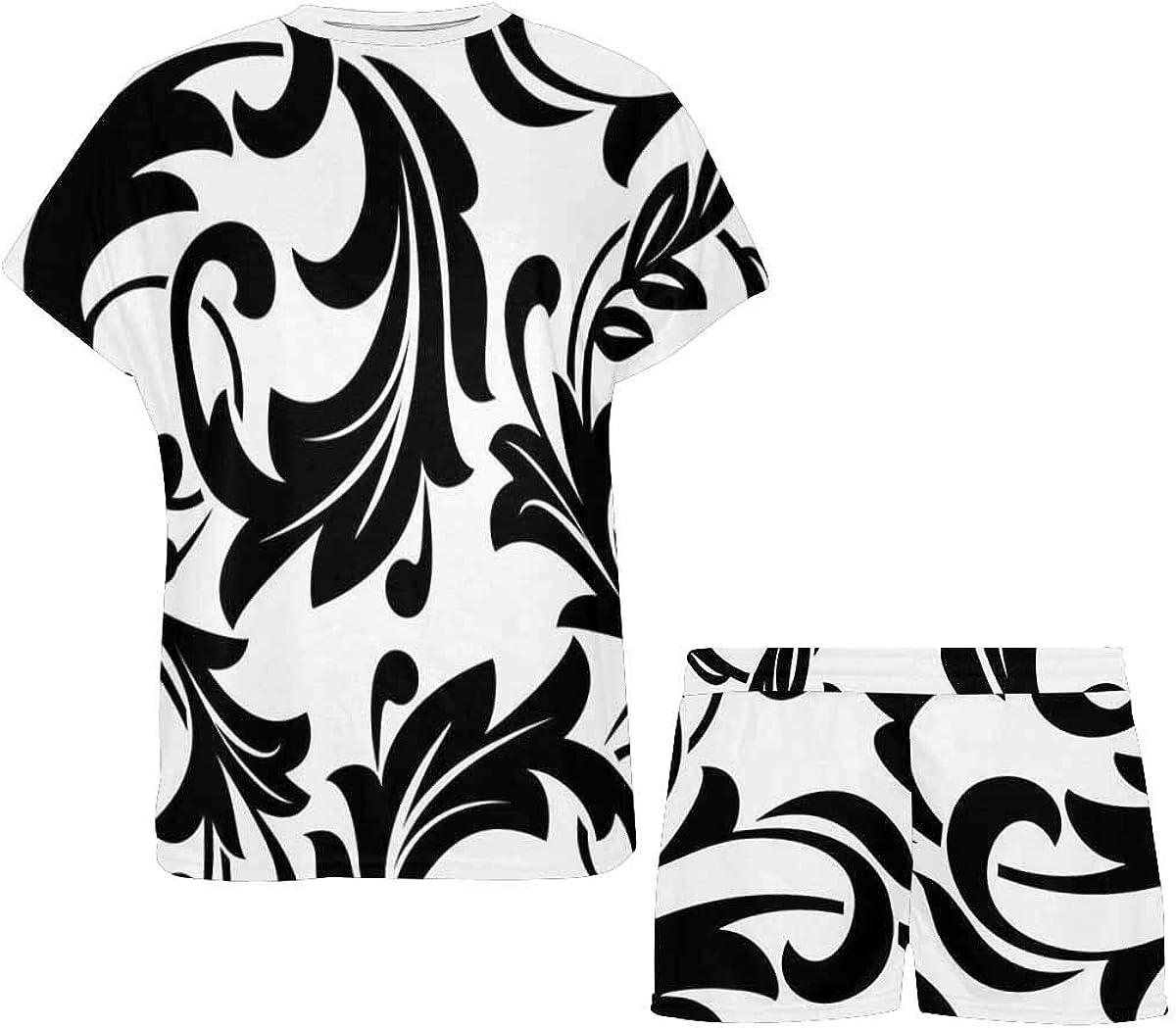 INTERESTPRINT Black Flowers on a Transparent Background Women's Lightweight Pajama Set, Short Summer Pjs