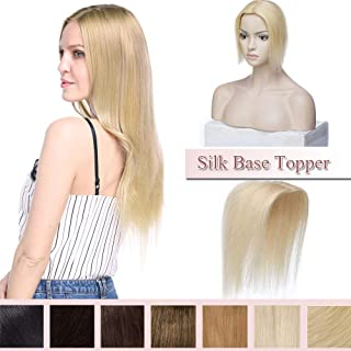 100% Remy Human Hair Silk Base Top Hairpiece For Women Clip In Crown Topper Hand-made Toppee Hair Topper Crown Top Piece Middle Part With Thinning Hair Grey Hair #613 Bleach Blonde 16''30g…