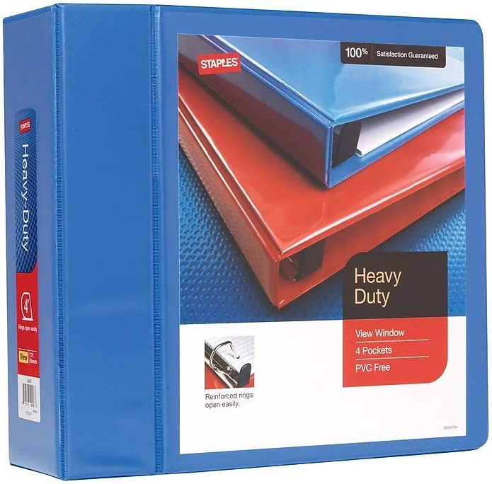 Staples 82662 Atlanta Mall Heavy Duty 4-Inch 3-Ring Periwinkle View Factory outlet Binder 2