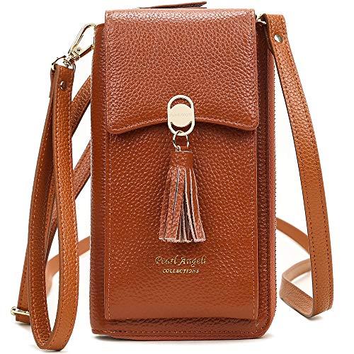 Pearl Angeli Weiches Echtes Leder Handy Umhängetasche - Handytasche Geldbörse Damen RFID Schutz kleine Crossbody Tasche Orange (Braun)